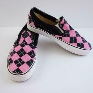 Vans Pink Black Plaid Slip On Canvas Mens Shoes